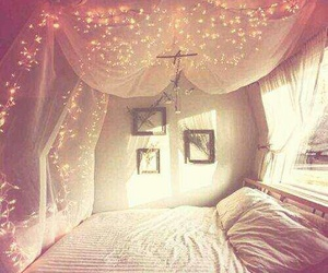 bedroom, bohemian, and lights image