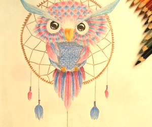 bird, colored pencils, and colour image