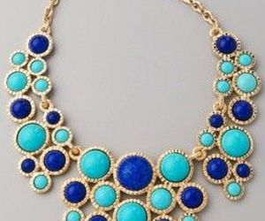 necklace, blue, and gold image