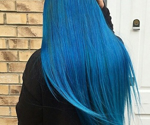 Bleu, fille, and cheveux image