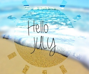 july, summer, and beach image