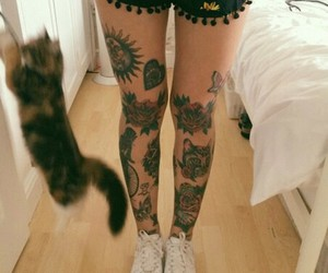 tattoo, cat, and girl image