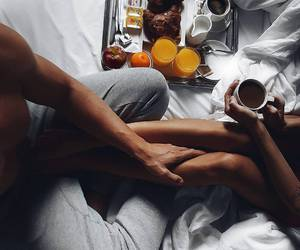 couple, breakfast, and love image