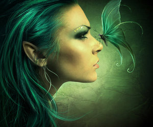 green, butterfly, and fantasy image