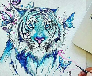 art, tiger, and blue image