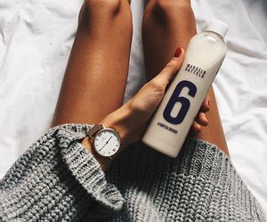 watch, drink, and sweater image