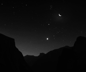 moon, stars, and black image