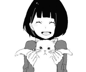 cat, girl, and anime image