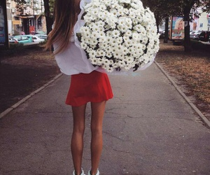 girl, flowers, and style image