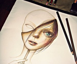 girl, drawing, and face image