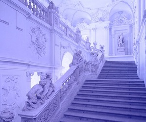 hall, purple, and staircase image