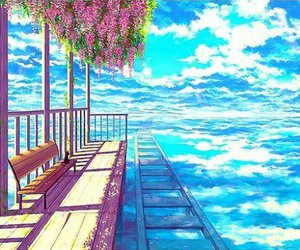 anime, sky, and scenery image