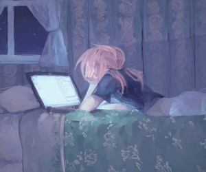 night, anime, and art image
