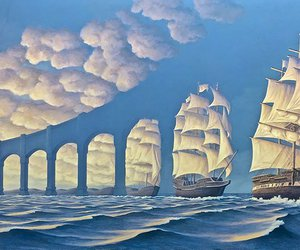 art, sea, and clouds image