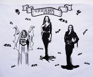 black, Lily Munster, and old school image