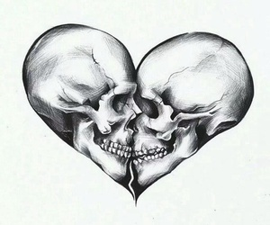 love, skull, and heart image