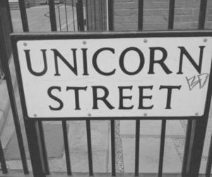 unicorn, street, and black and white image