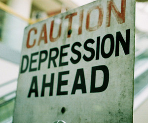depression, caution, and sign image