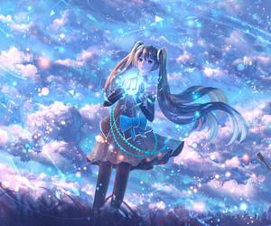 sky, anime girl, and fantasy image