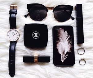 sunglasses, black, and chanel image