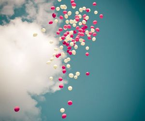 balloons, sky, and girly image
