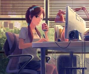 anime, computer, and study image