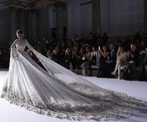 dress, wedding, and runway image
