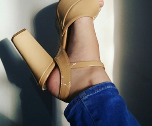 high heels, Nude, and shoes image