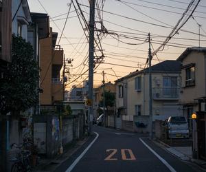 street, japan, and sunset image