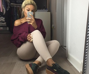 blond, iphone, and women image