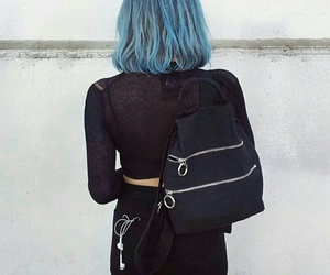 blue, girl, and black image