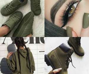 makeup, olive green, and shoes image