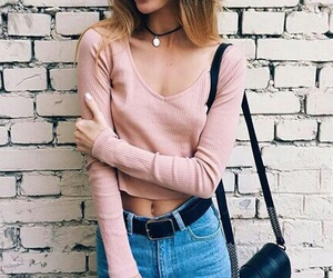 blouse, jeans, and pink image