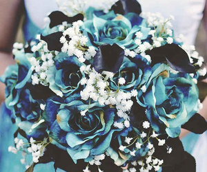 blue, bouquet, and flowers image