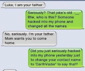 funny, text, and darth vader image