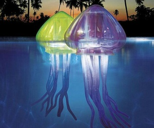 pool, jellyfish, and light image
