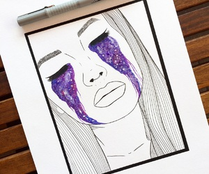 art, drawing, and galaxy image