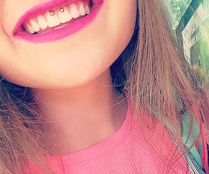 piercing, pink, and smiley image