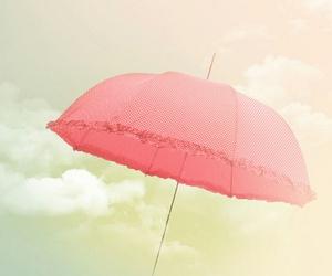 pink, umbrella, and sky image