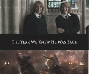 harry potter, george, and Fred image