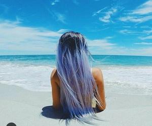 beach, blue, and hair image