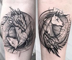 tattoo, dragon, and unicorn image