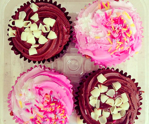 cupcake, pink, and chocolate image