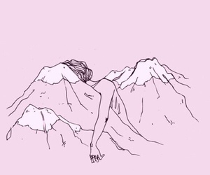 girl, pink, and mountains image