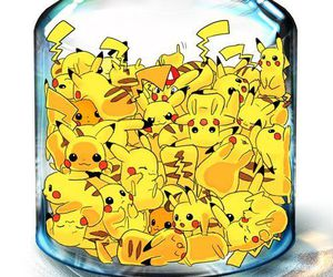 bottle, kawaii, and pikachu image
