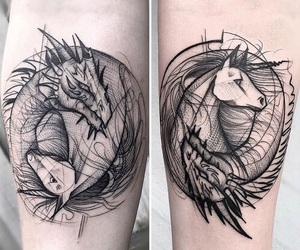 tattoo, dragon, and unicorn image