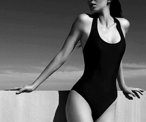 black and white, Kendall, and swimwear image