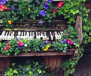 flowers, old, and piano image