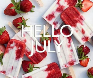strawberry, ice cream, and july image