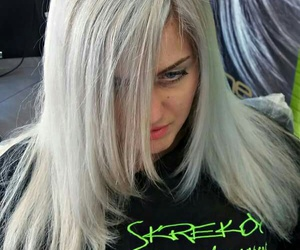 blonde, blonde hair, and gray hair image